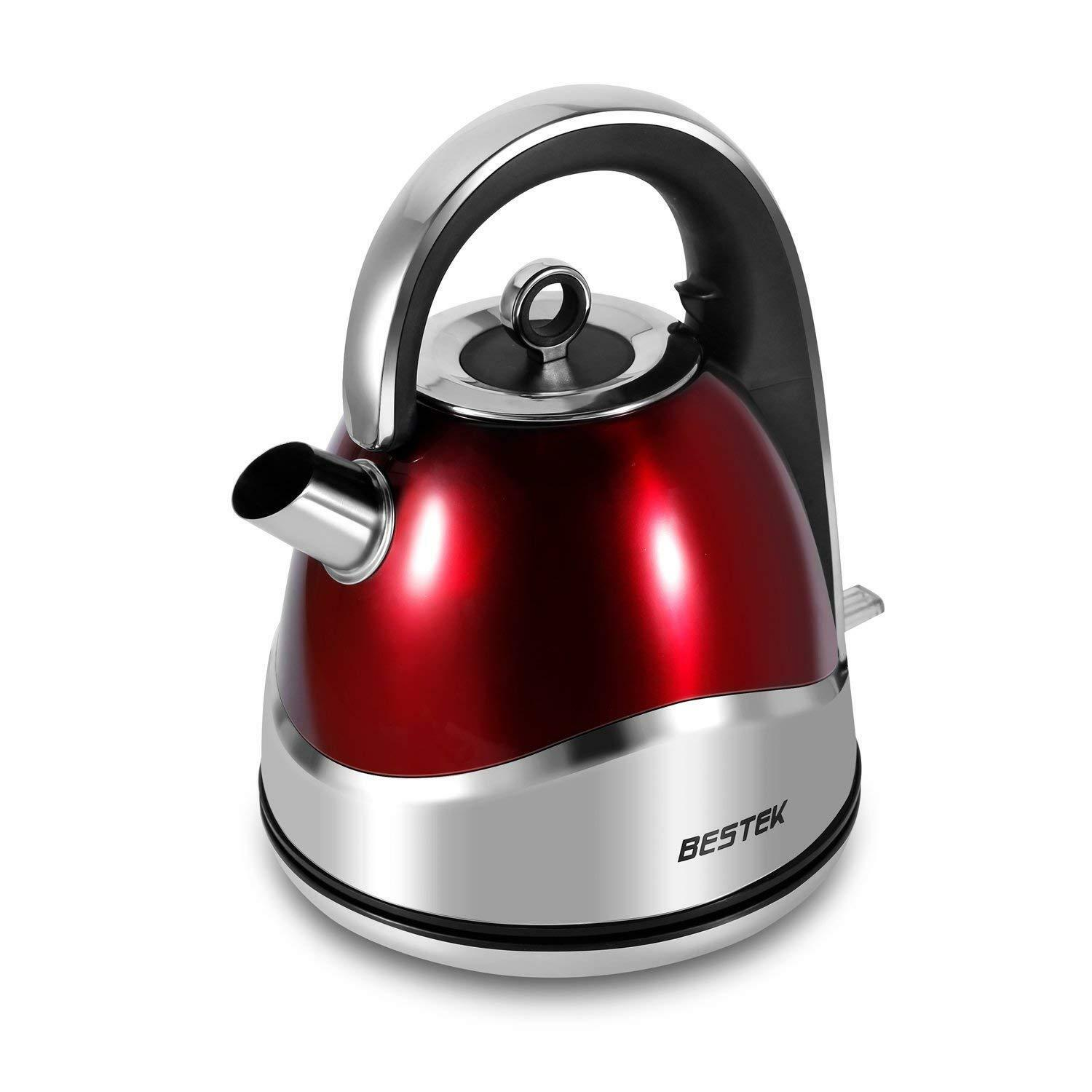 Bestek Retro Electric Kettle Red Stainless Steel Jug Cordless Watering Can 1.5L