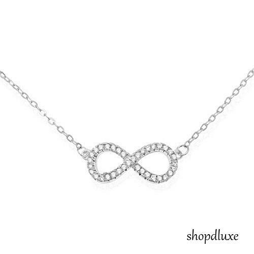 "WOMEN'S .925 STERLING SILVER INFINITY KNOT CZ PENDANT & 16-18"" FASHION NECKLACE"