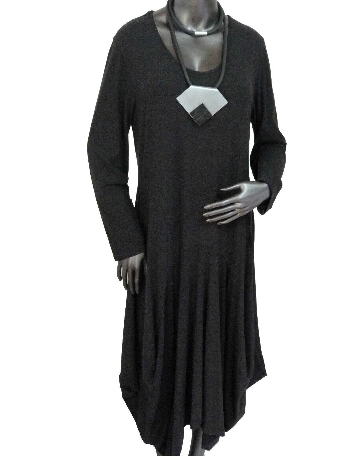 Gr.46 48 Edles Kleid Wollkleid Herbst- Winter Kleid elegant zeitlos  Anthrazit