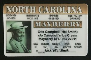 Otis The Town Drunk Mayberry NC Wino Novelty Sheriff Andy Griffith Show License