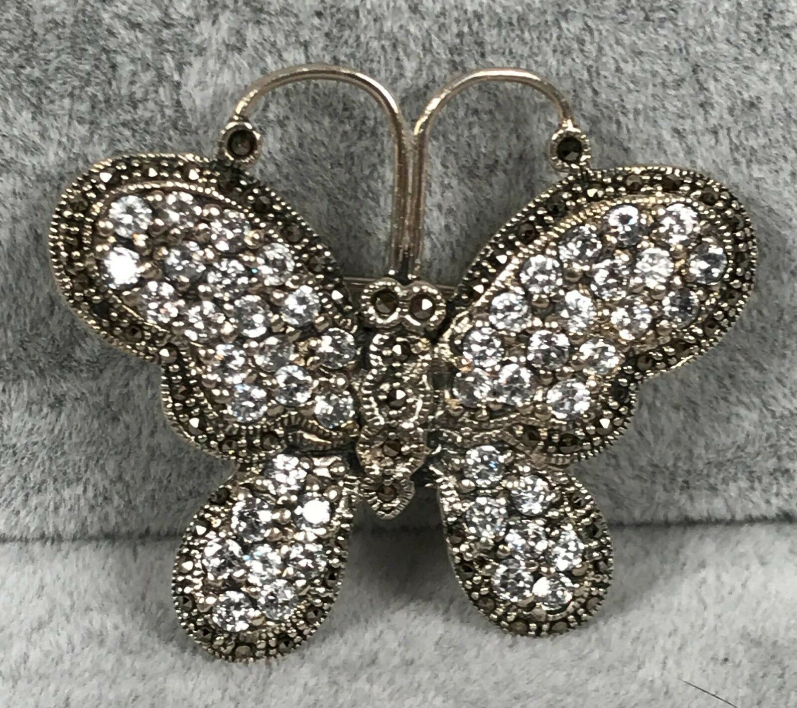 Vintage Sterling Pin Brooch - Butterfly w  Marcasite and Rhinestones - SIGNED MT