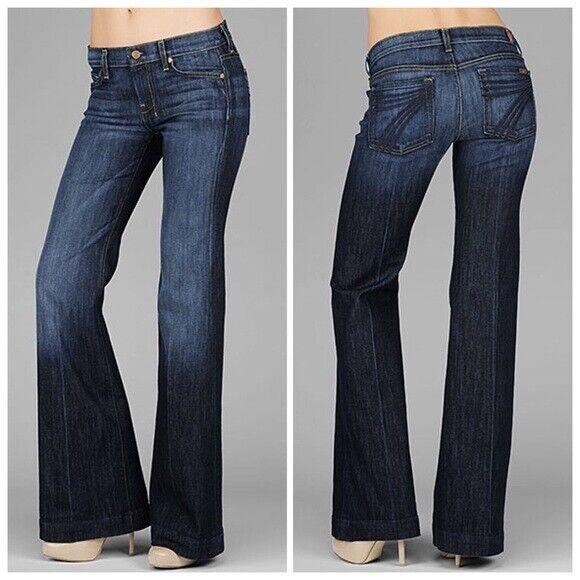 7FAM 7 For All Mankind Sz 29 DOJO Midnight New York Dark Flare Jeans 32W x 28I