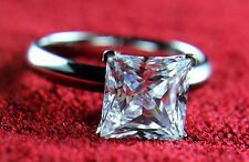 JEWELRY HSO 2 ct Princess Cut Diamond Solitaire Engagement Ring 14k White Gold