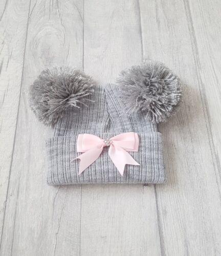 Bebé Niñas Adorable De Punto Doble Cinta Pom Pom Sombreros ☆ recién nacido y 3-12mth ☆