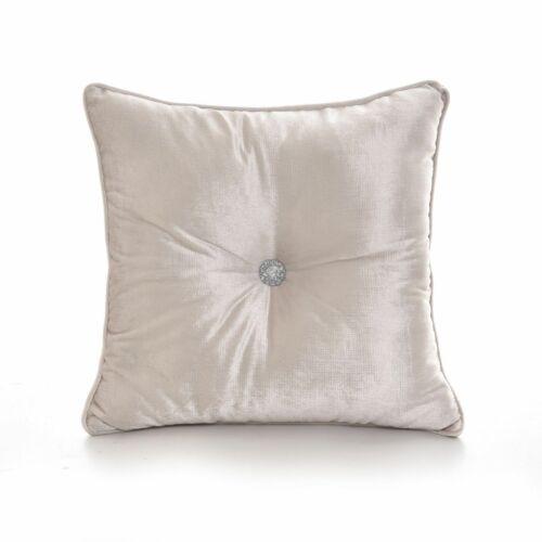 "Luxury Shiny Diamante Centre Embossed Chenille Velvet Filled Cushions 17/""x17/"""