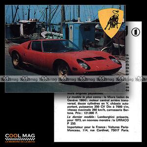 100% Vrai ★ Lamborghini Miura ★ Fiche Auto / Autocard #1 Chaud Et Coupe-Vent