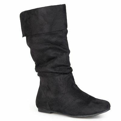 BLACK BOOTS SIZE 5.5 FAUX SUEDE MID CALF SLOUCHY NWT