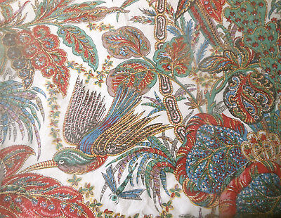 French Indienne Batik Floral Bird Cotton Fabric ~ Blue Red Green ~ Antique Vtg
