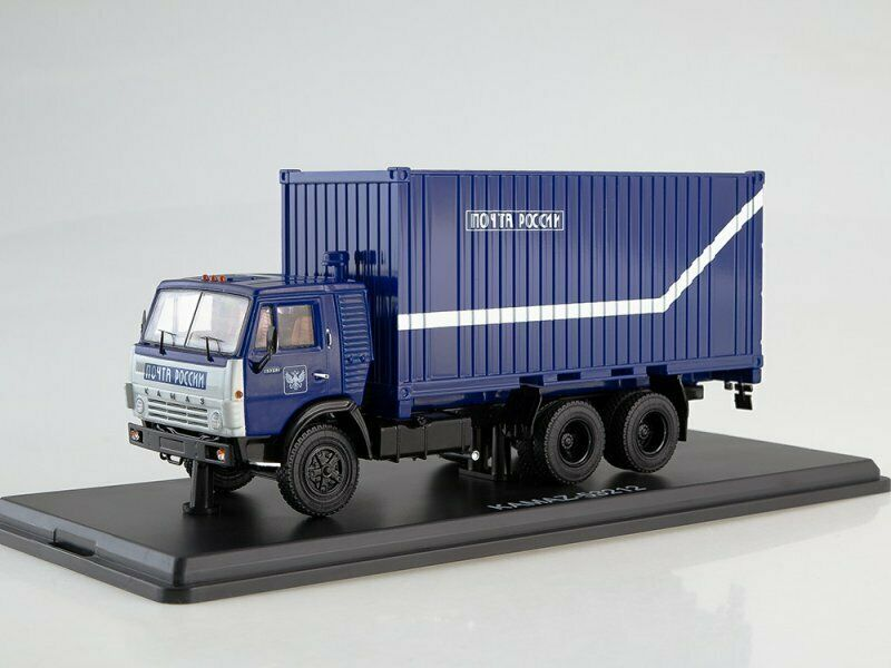 Scale model truck 1 43 KAMAZ-53212 with 20-foot container, Russian Post