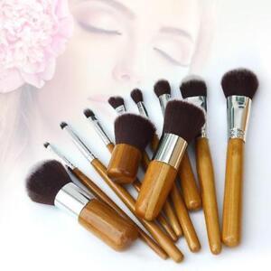 Details about 11 pcs Bamboo Handles Eco-friendly Makeup Brush Set Super  Soft Face Kit NEW FT