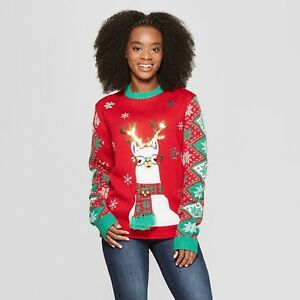 Ugly Christmas Family Pictures.Details About New Adult Llama Family Ugly Christmas Sweater 33 Degrees Red Size Xs