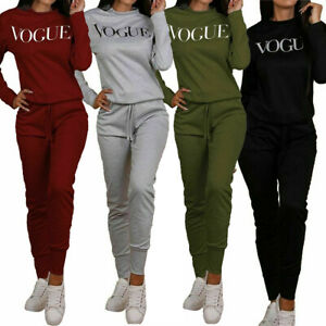 New-Womens-Vogue-Print-Top-Bottoms-Loungewear-2-Pcs-Co-Ord-Set-Tracksuit