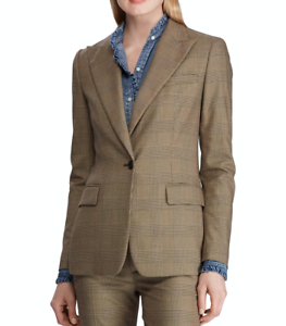 Lauren-Ralph-Lauren-Blazer-Jacket-Friesann-Plaid-Brown-Sz-8-NEW-NEW-351