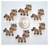 6pc Cutest Cowgirl Pony Horse Giddy Up Cowboy Western Resins Hairbow Center