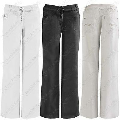 NEW LADIES LINEN FLARED TROUSERS WOMENS STRETCH WAIST LOOSE FIT PANTS WIDE LEG