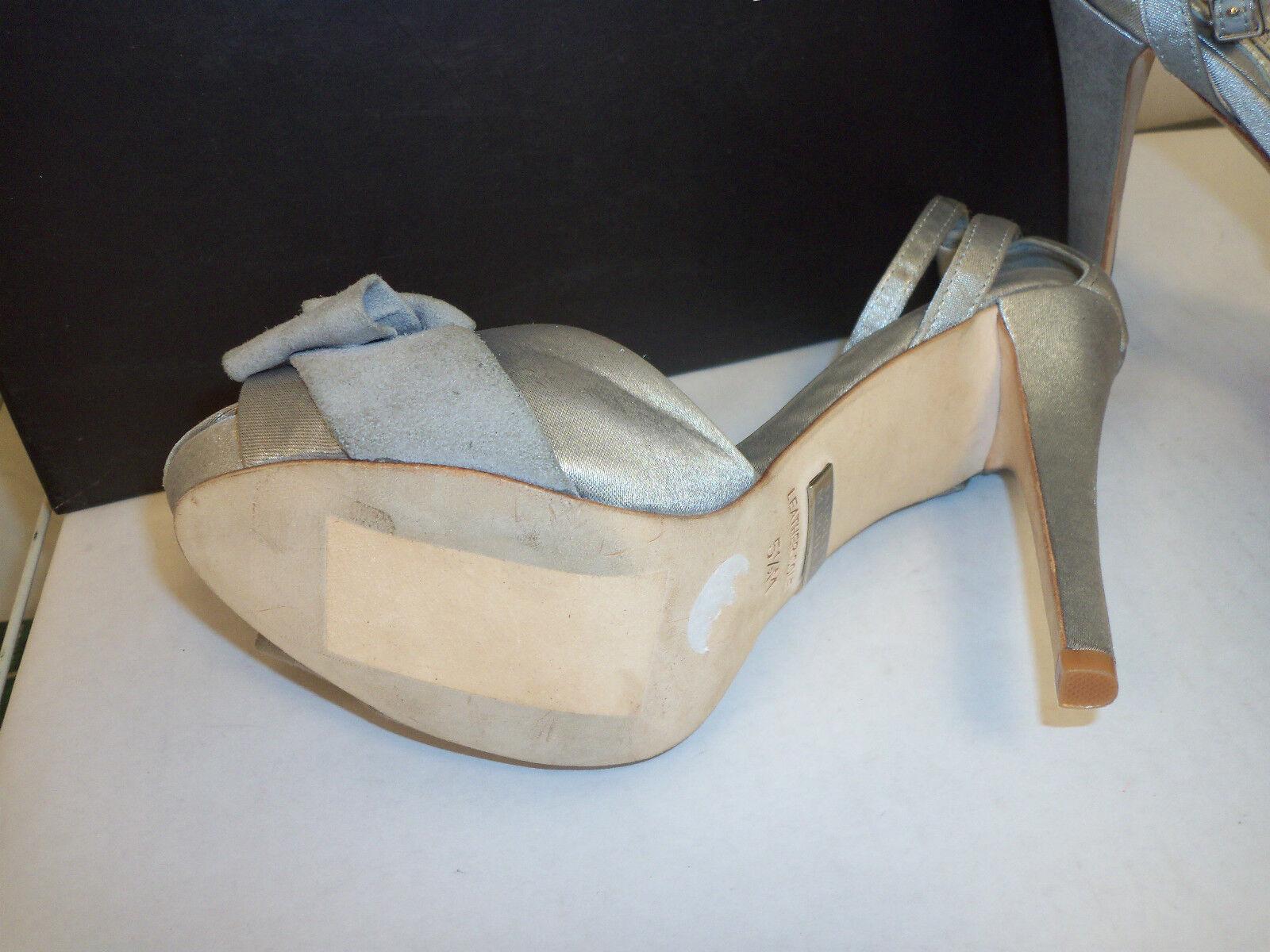 Badgley Mischka New Damenschuhe Baby Silver Toe Satin 5.5 M Open Toe Silver Ankle Strap Heels Sh 443288