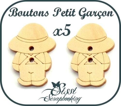 LOT 5 BOUTON BOIS PETIT GARÇON COUTURE ENFANT GILET SCRAPBOOKING SCRAP NAISSANCE