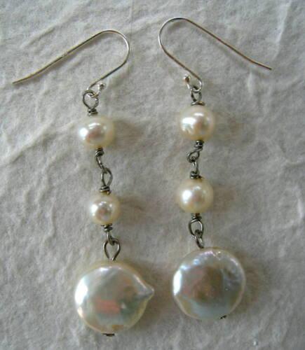 Sterling Silver 925 White Coin Pearl Dangle Earrings