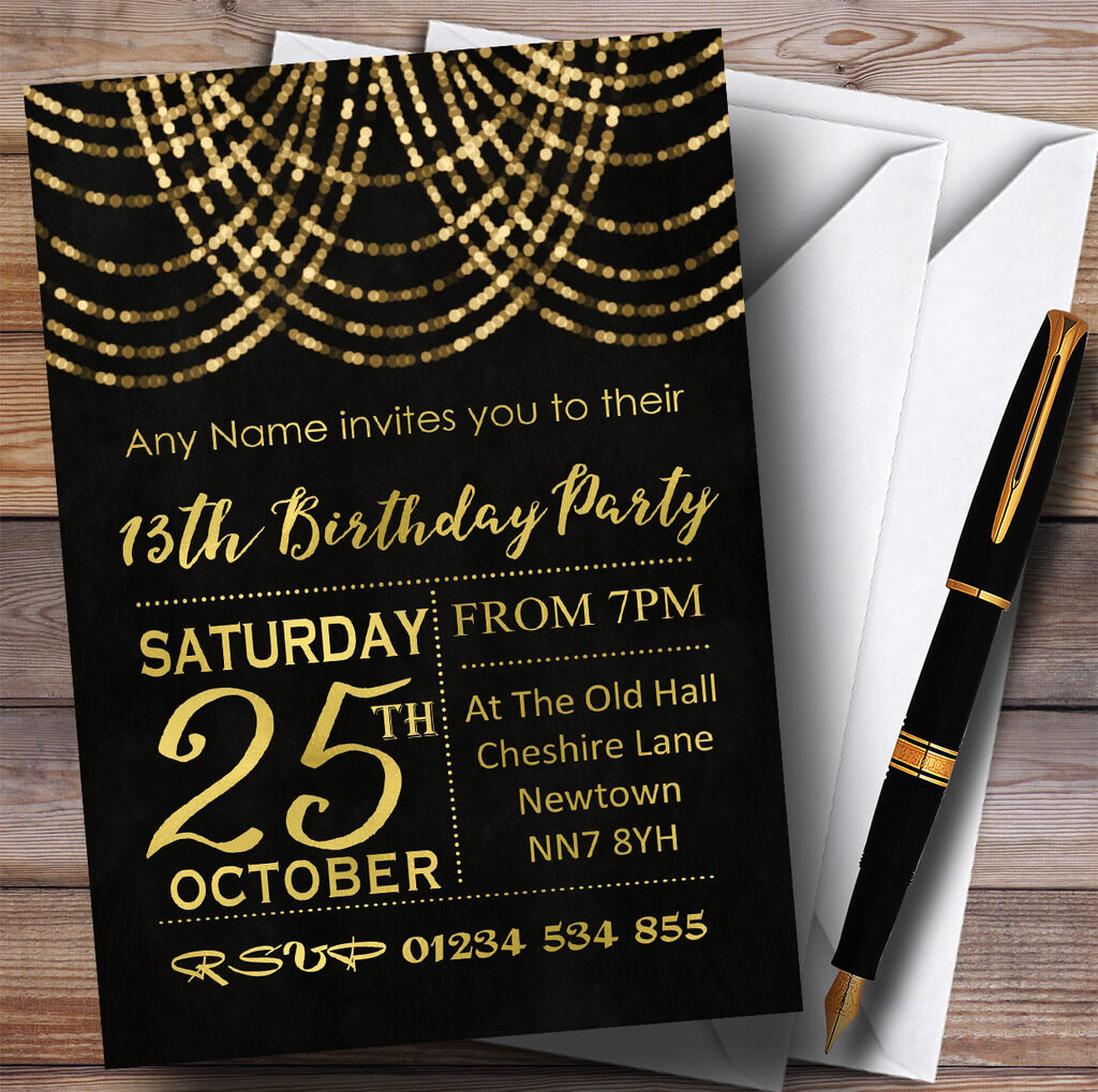 Gold Draped Garland 13th Personalised Birthday Party Invitations