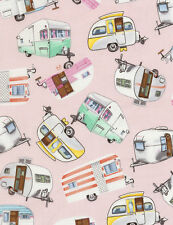 Timeless Treasures Vintage Campers, Trailers on Pink Background-NEW Fabric