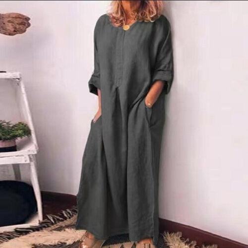 Women O-Neck Tops Kaftan Cotton Dress Shirt Maxi Full Length Long beach Oversize