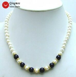6-7mm-Natural-White-Pearl-amp-8mm-Black-Agate-17-034-Chokers-Necklace-for-Women-5832