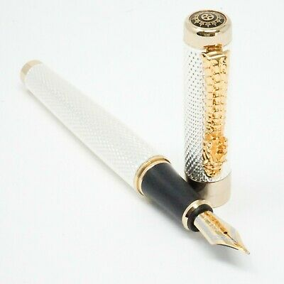 JINHAO Chiselled Gold Pen UK! 4x PARKER Type G2 Ballpoint Pen Refills BLACK