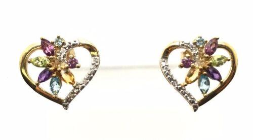 Sterling Silver Gold Tone Multi Color Jaune Citrine Coeur Clous Post Boucles d/'oreilles