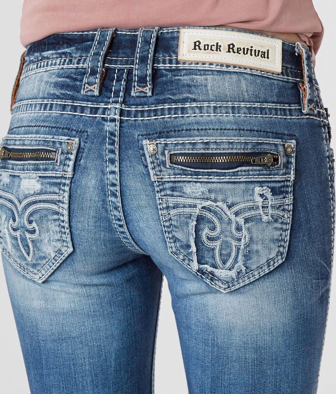 Rock Revival Juleen Mi-élevé Cheville Extensible Skinny Jeans Nwot Pdsf Sz 25x26