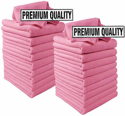 Microfibre Cloths 20 Pack Pink Microfiber Large Washable Cleaning Cloth