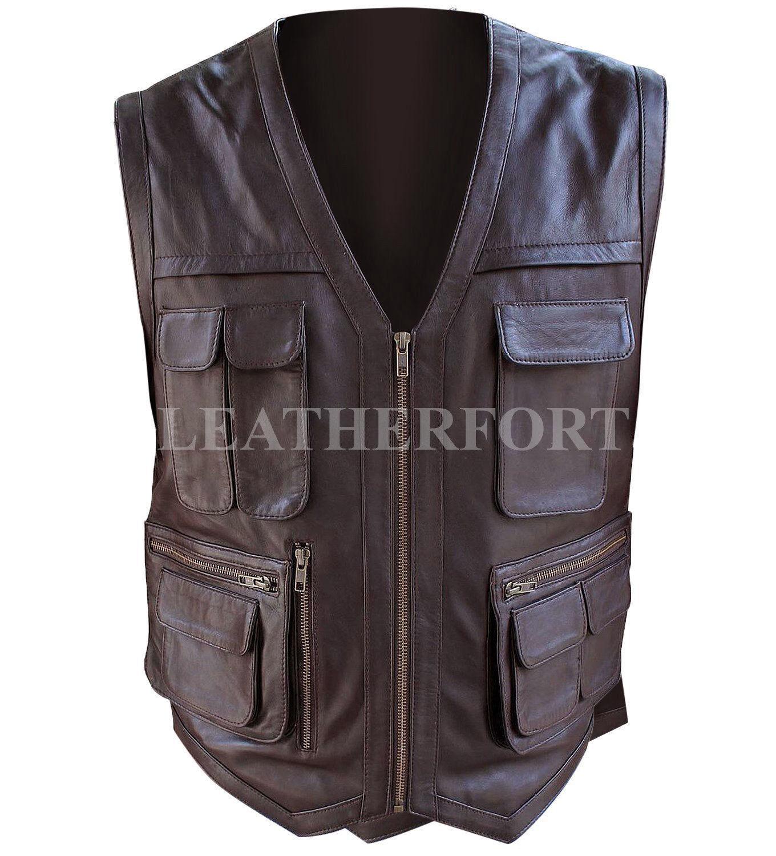 Jurassic World Chris Pratt Owen Grady Leder Vest - ALL SIZES AVAILABLE