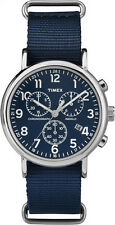 "Timex TW2P71300, ""Weekender"" Blue Nylon Slip-Thru Watch, Chronograph,TW2P713009J"