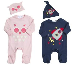 cde39b80e Baby Boys Girls Sleepsuit + Hat 2 Piece Outfit Romper Set Babygrow ...