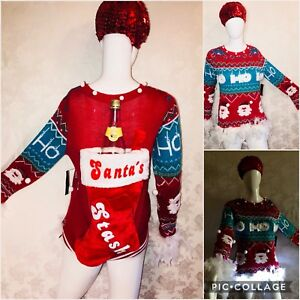 Details about Light Up Ugly Tacky Christmas Sweater Santa's Stash Wine Bottle Holder