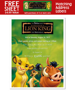 8 The Lion King Movie Personalized Birthday Party Invitations eBay