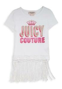 Juicy-Couture-Girls-White-amp-Pink-Top-Size-4-5-6-6X-7-8-10-12-14-16