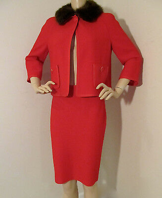 NEW ST JOHN KNIT SZ 6 WOMENS SUIT JACKET & SKIRT VENETIAN RED BOUCLE KNIT WOOL
