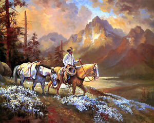 canvas-Print-Cowboy-in-the-valley-Landscape-Oil-painting-Printed-on-canvas-P056