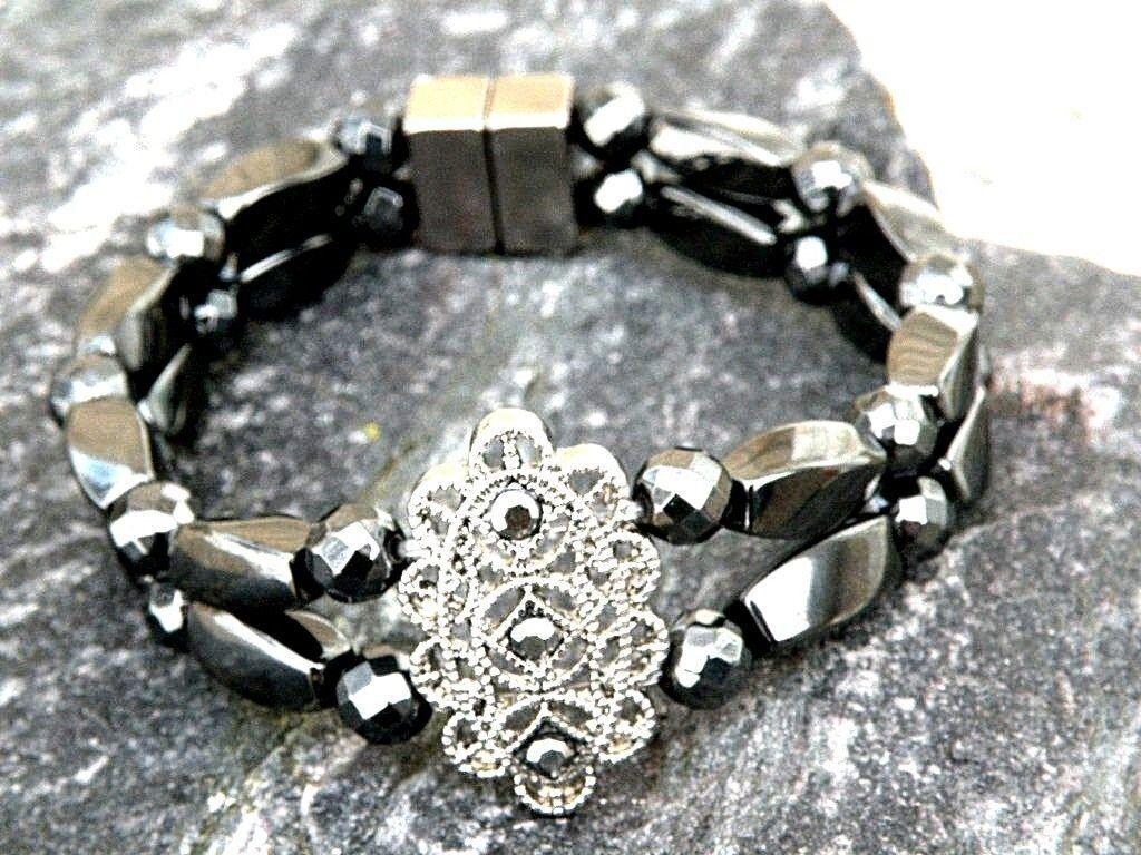 Men's Women's Magnetic Hematite Marcasite Slider Bracelet 2 Row
