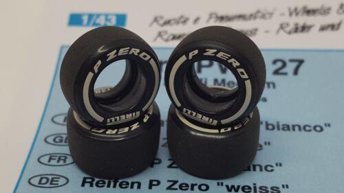 Tameo PWT27 1//43 escala 1 Set Neumáticos Blanco Talle mediano Pirelli PZERO F1 Neumáticos Slick