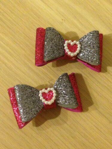 Mini Glitter Hair Bows X2