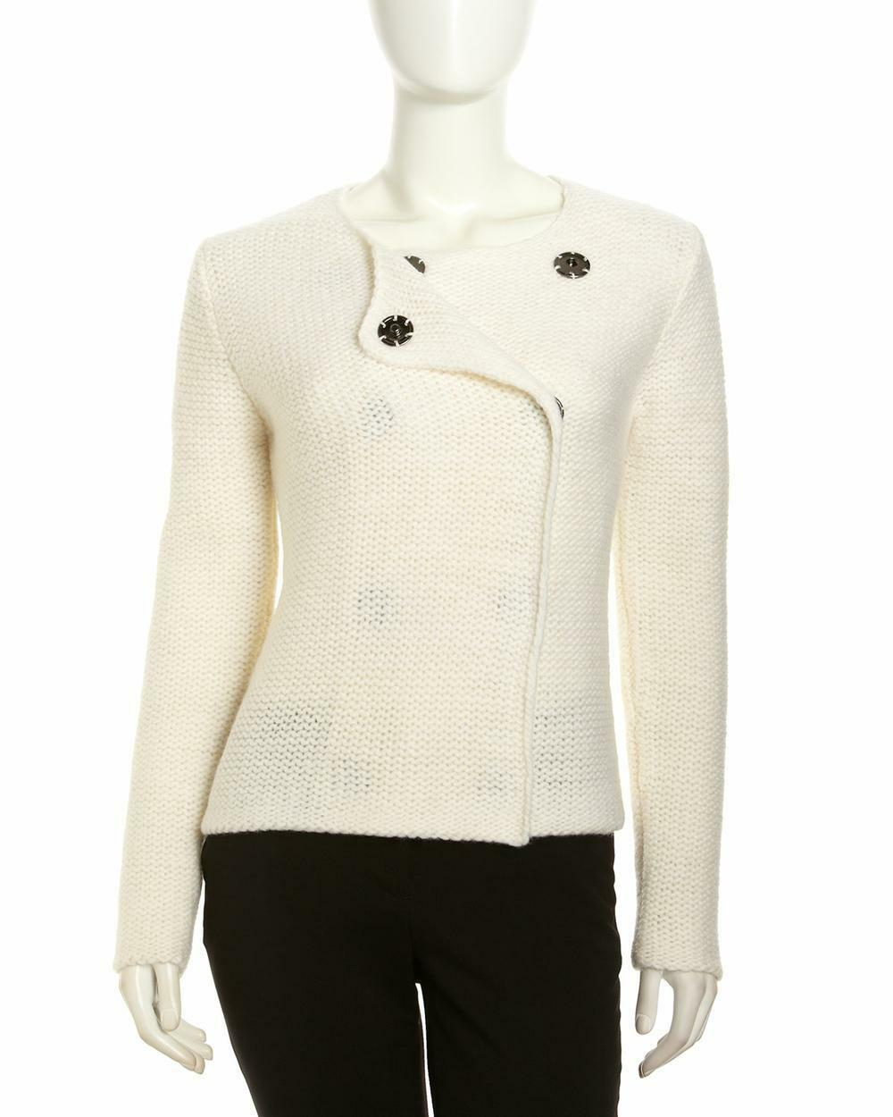 NWT Robert Rodriguez Women's Double-Breasted Crochet Sweater, Ivory size S  396