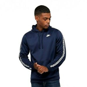 Nike-repeter-Bande-Logo-Poly-Sweat-a-Capuche-Bleu-Taille-XL