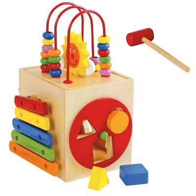 Compiacente Cubo Dado Didattico In Legno Gioco Per Bambini Con Xilofono E Forme