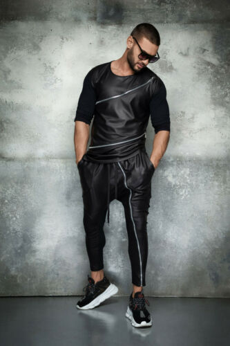 By Alina Mexton Herren Boyfriend Skinny Jogginghose Trainingshose Lederlook S-XL