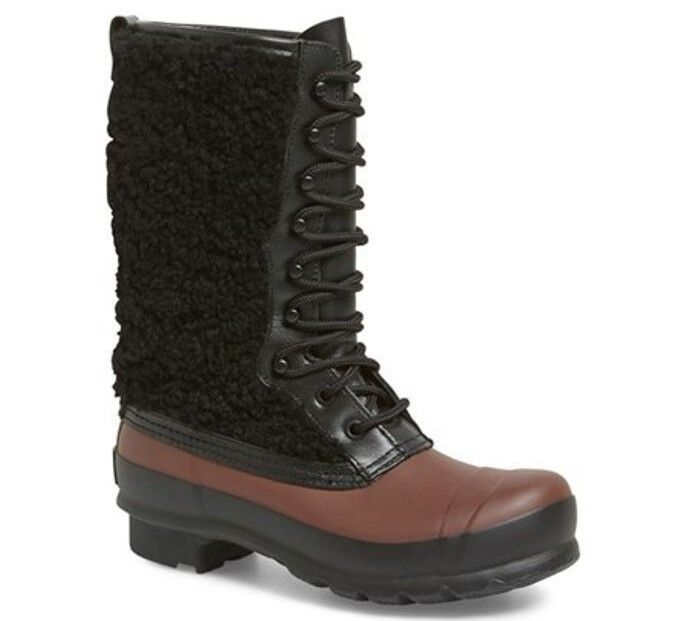 New  295 HUNTER Genuine Shearling Waterproof Lace Up Rain Boot 38, 7