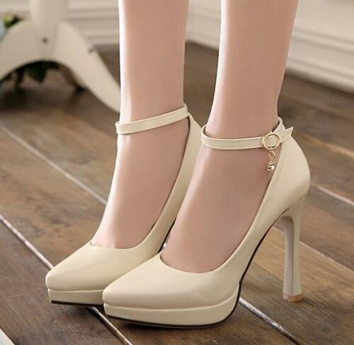 Womens Buckle High Heels Ankle Strap Pumps Pointy Toe Party Wedding SHoes Chic