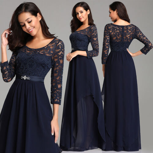UK Ever-Pretty Floral Lace Sleeve Long Evening Party Dresses Evening Prom Gowns