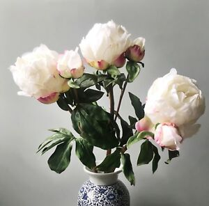 3 large white peonies w buds realistic artificial luxury faux silk image is loading 3 large white peonies w buds realistic artificial mightylinksfo