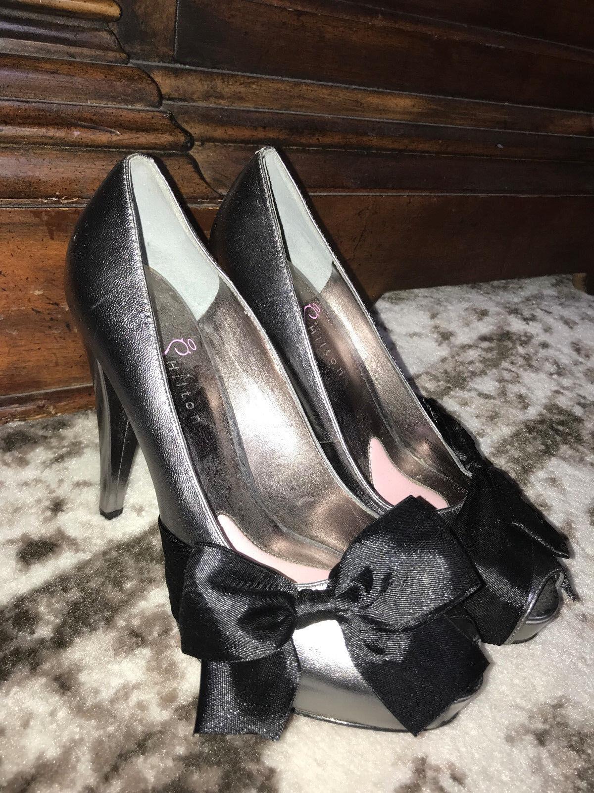 NEU PARIS HILTON silver pink bow stilettos high heels pumps schuhe-8.5-RARE-150